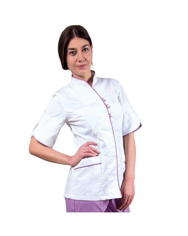 Дамска медицинска туника BARISA WHITE PURPLE