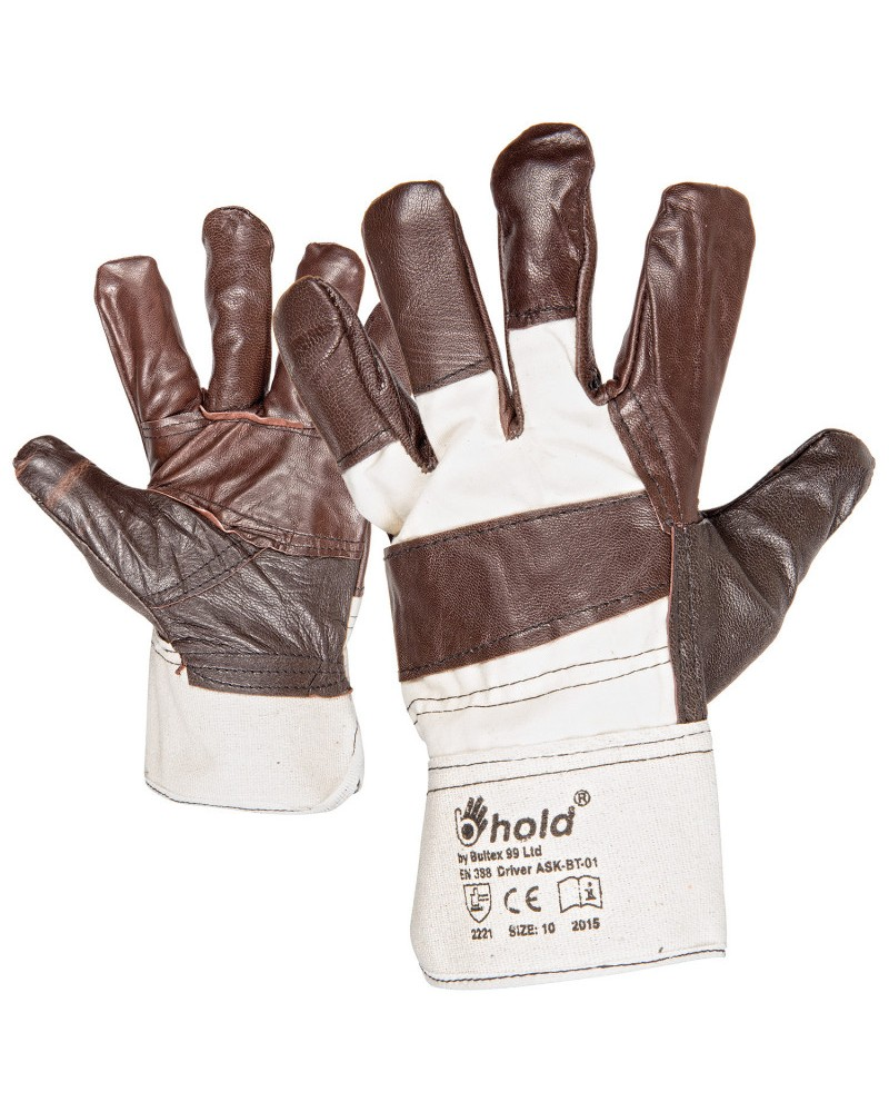 Работни ръкавици от кожа и плат DRIVER